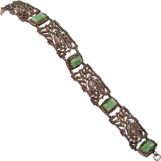 Art Deco Marcasite and Faux Amazonite Bracelet in 800 Silver, Ornamental