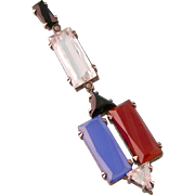 Art Deco Pendant Necklace with Rock Crystal, Blue Chalcedony, Carnelian and Onyx, Sterling, Germany