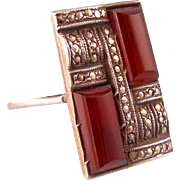 Art Deco Large Carnelian and Marcasite Ring, Ornate Design, Sterling, Size 9
