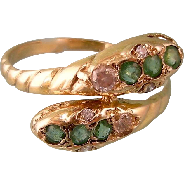 Antique Victorian 18K Gold Double Snake Head Ring with Diamonds and Emeralds, France, c1900