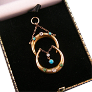 Antique Victorian Pendant with Two Crescent Moons, Three Diamonds, and Five Turquoises, 9ct Gold, Dated 1900