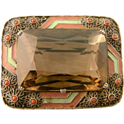 Art Deco Theodor Fahrner Brooch, Smoky Quartz, Coral, and Enamel, in Original Box