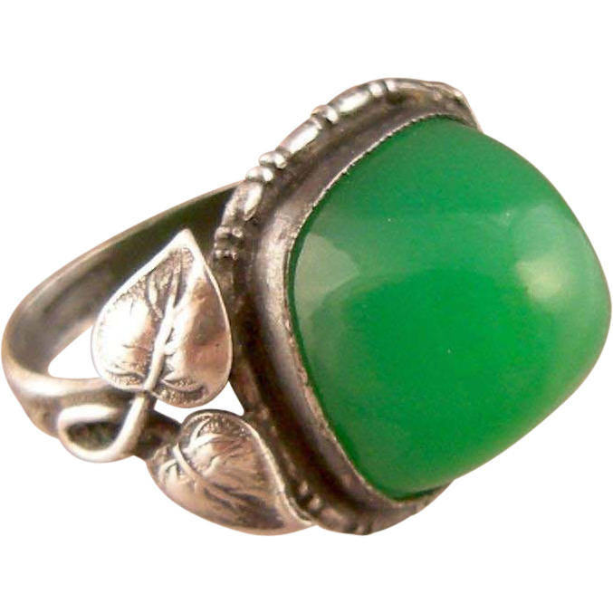 Art Nouveau Chrysoprase Ring with Large Stone and Leafy Borders, Sterling, Germany
