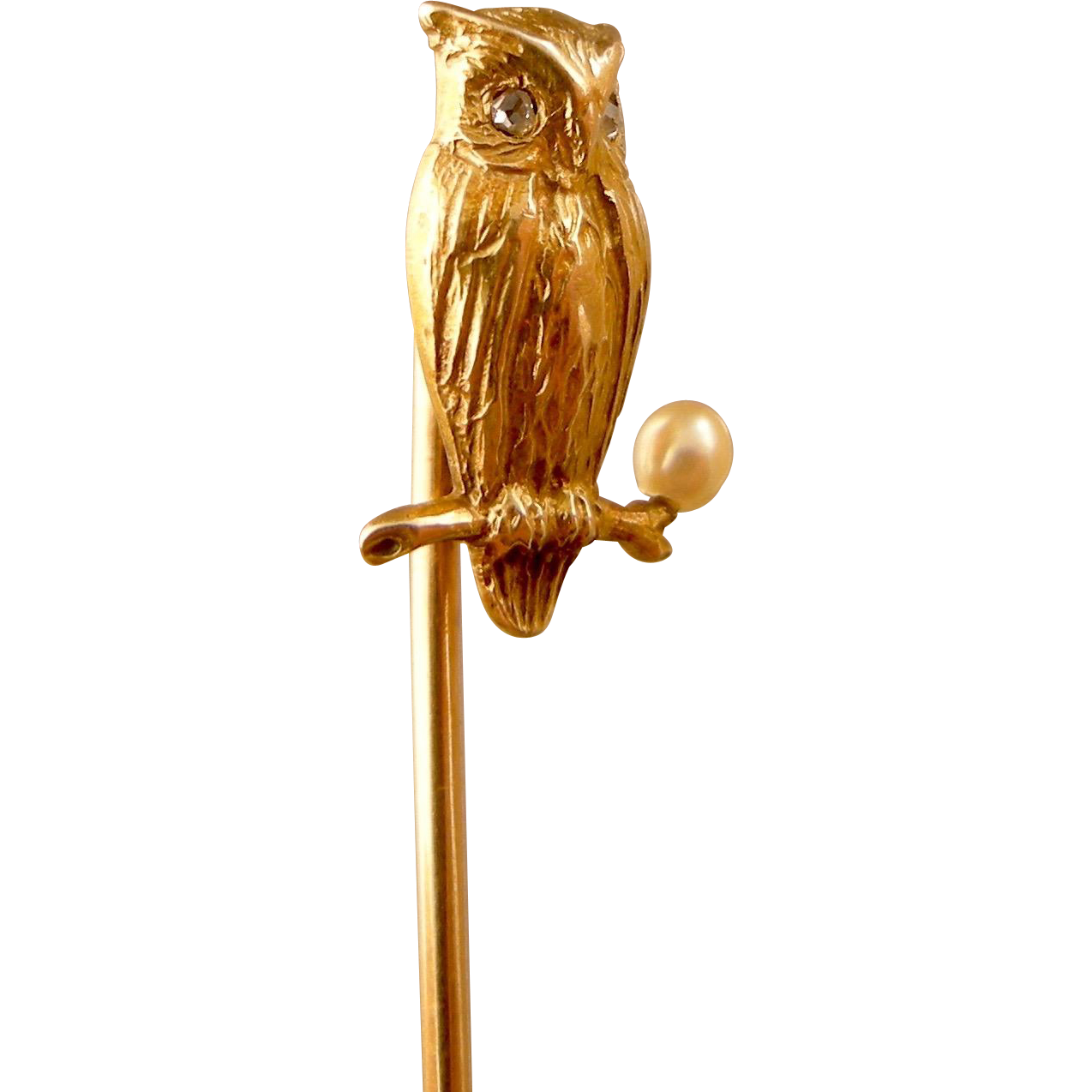Antique Owl Stickpin in 14K Gold with Diamonds and Pearl