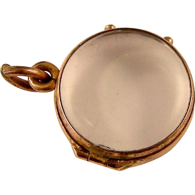 Round Clear Glass Hinged Locket in Rolled Gold, c1920