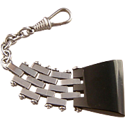 Art Deco Keychain, Galalith and Chromed Metal, Jakob Bengel