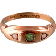 Antique Edwardian Ring with a Green Tourmaline and Two Opals, 9ct Gold, 1918