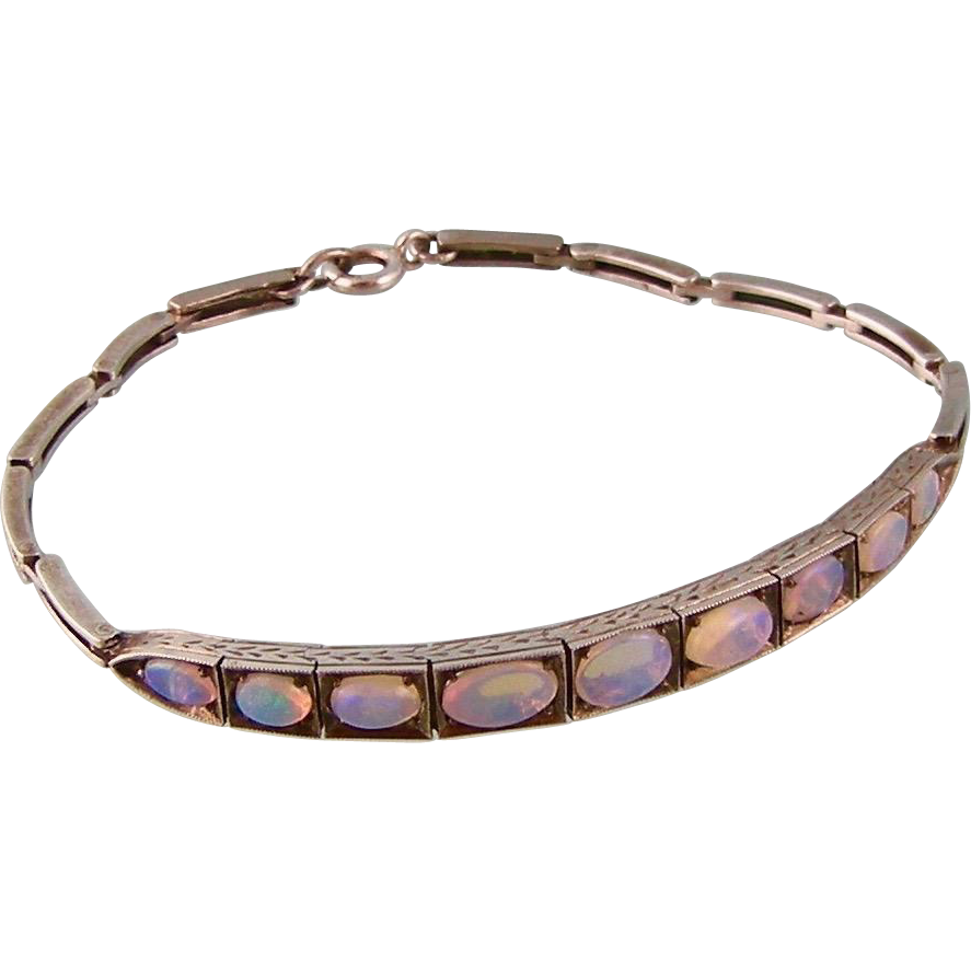 Art Deco Vivid Opals Bracelet in Sterling Silver