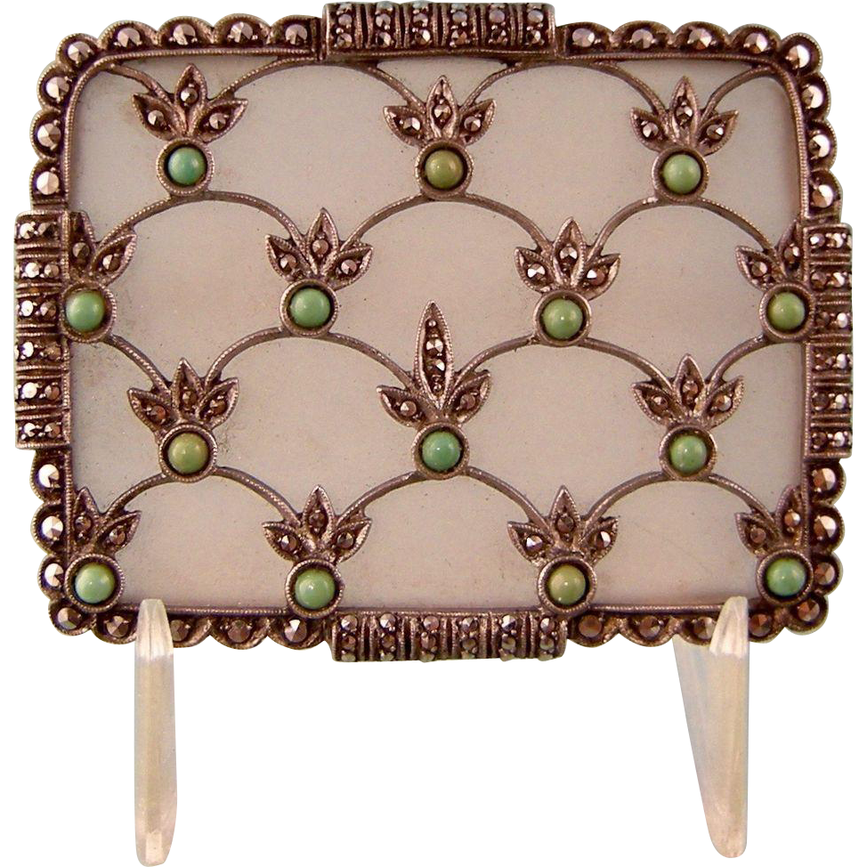 Theodor Fahrner Turquoise and Rock Crystal Brooch with Marcasites, Sterling Silver, Signed TF 925