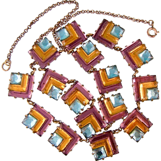 Art Deco Geometric Necklace with Aqua, Pink, and Yellow Mirrored Glass Squares, Remarkable Design