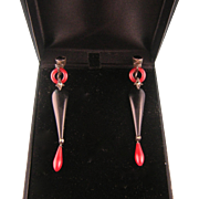 Art Deco Earrings in Brick Red and Black Galalith with Marcasites, Sterling, Germany