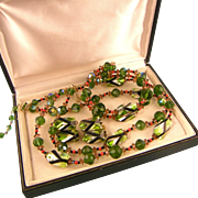 Vintage Vendome Parure Featuring Electric Lime and Black Glass Beads, Glittering