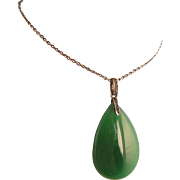 "Edwardian or Art Deco Chrysoprase and Paste Pendant on Long, 32"" Chain, Sterling Silver,  Sautoir Necklace"