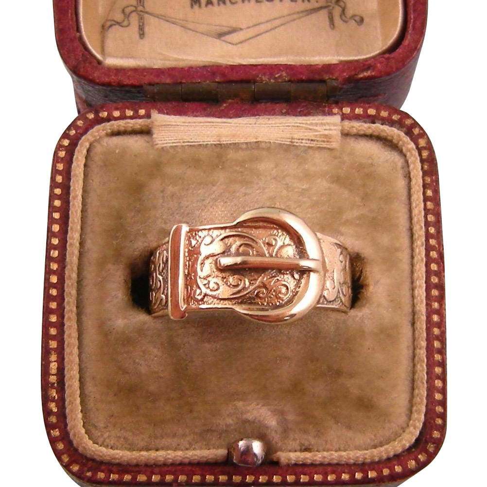 Antique Victorian Wide Buckle Ring, Beautifully Engraved, 9ct Gold