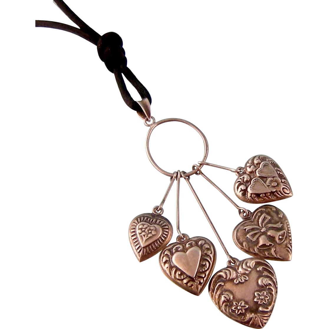 Vintage Ornate Puffy Hearts Necklace with Wedding Bells, Double Hearts, Sterling Silver, c1940