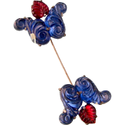 Art Deco Jabot Pin, Blue and Red Molded Glass, Grand Size, 4""