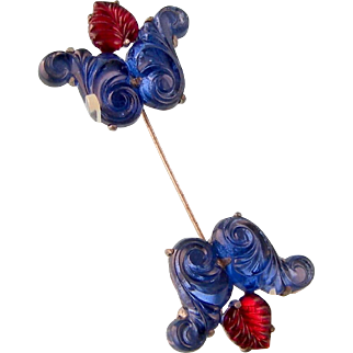 """Art Deco Jabot Pin, Blue and Red Molded Glass, Grand Size, 4"""""""