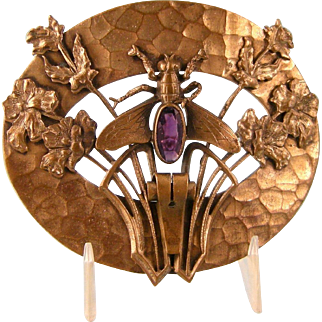 Antique Art Nouveau Sash Pin with Bee, Amethyst Glass, Flowers, and Elaborate Metalwork