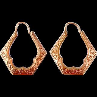 Antique Victorian Hoop Earrings, Rose Gold Filled, Embossed