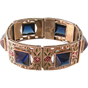 Art Deco Big Bracelet and Brooch with Stones, Enameling, and Marcasites, Sterling Silver, Rodi & Wienenberger