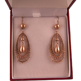 Antique 9ct Rose Gold Earrings, Oval Latticework Hoop and Drop
