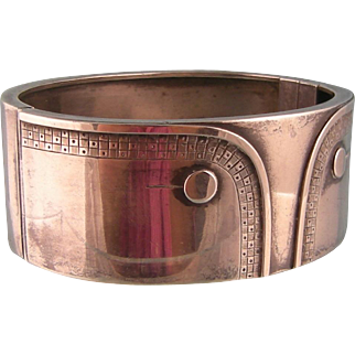 Antique Edwardian Sterling Silver Wide Bangle Bracelet, Shirt Cuff with Buttons, 1901-1902