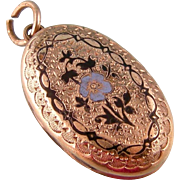 Antique Victorian Enameled Locket in Rose Gold Fill