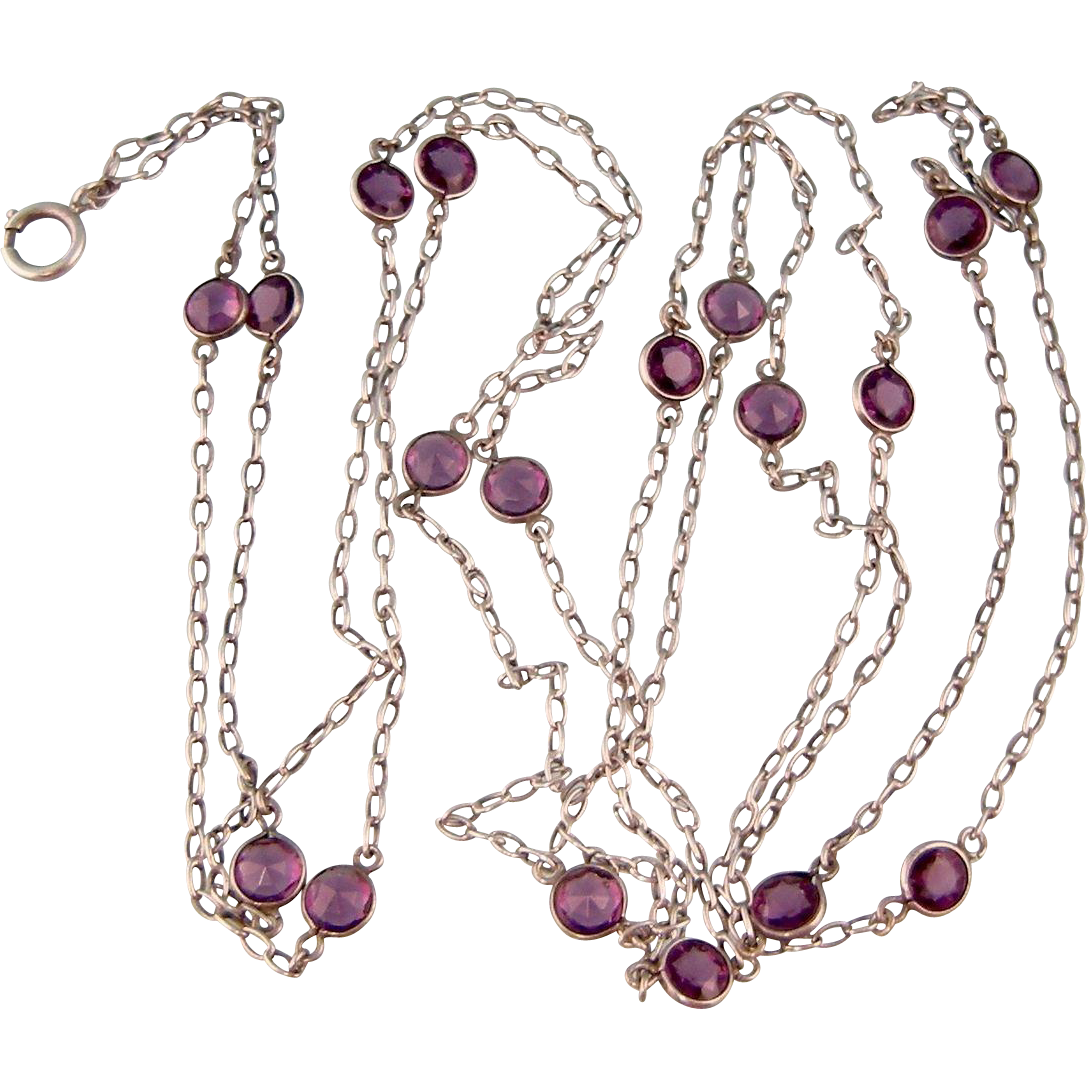 Antique Victorian Guard Chain, Sterling Silver with Large Amethyst Pastes, Long, 64""