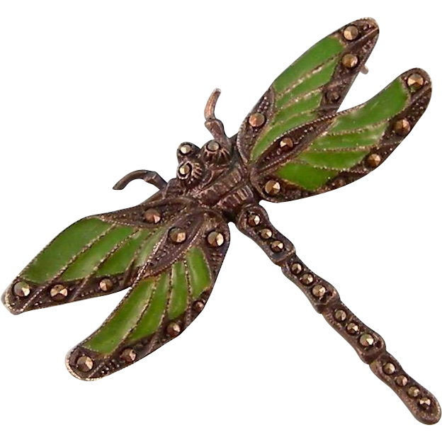 Art Deco Plique a Jour Enamel Dragonfly Brooch with Marcasites, in Sterling Silver