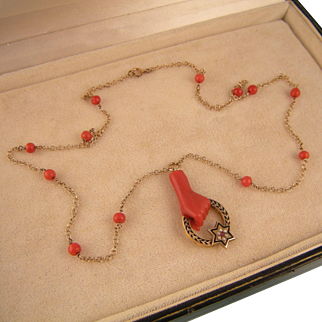 Antique Victorian Red Coral Hand Necklace with Enameling, Seed Pearls, and a Garnet, 14K Gold
