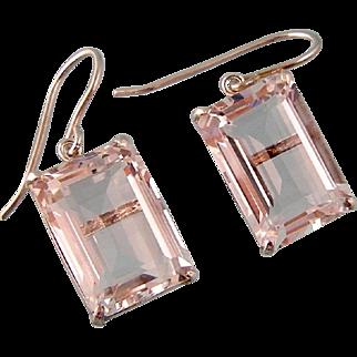 Brilliant Rock Crystal Drop Earrings, Japan, Sterling Silver