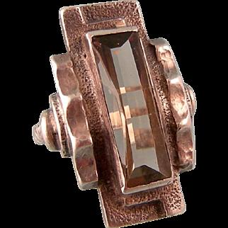 Art Deco Ring by Karl Karst, Germany, in Smoky Quartz, 935, Size 3-1/2