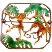 Hobe Enamel and Sterling Silver Brooch, Monkeys in Palm Trees, Art Deco 1940s