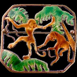 Hobe Enamel and Sterling Silver Brooch, Monkeys in Palm Trees, Art Deco 1940s