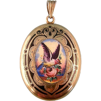 Antique Victorian Locket, Painted Bird and Flowers, Enameling, and Engraving, Gold Fill