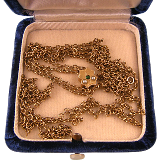 """Antique Victorian Guard Chain with 12K Gold Slide, Long, 49"""""""