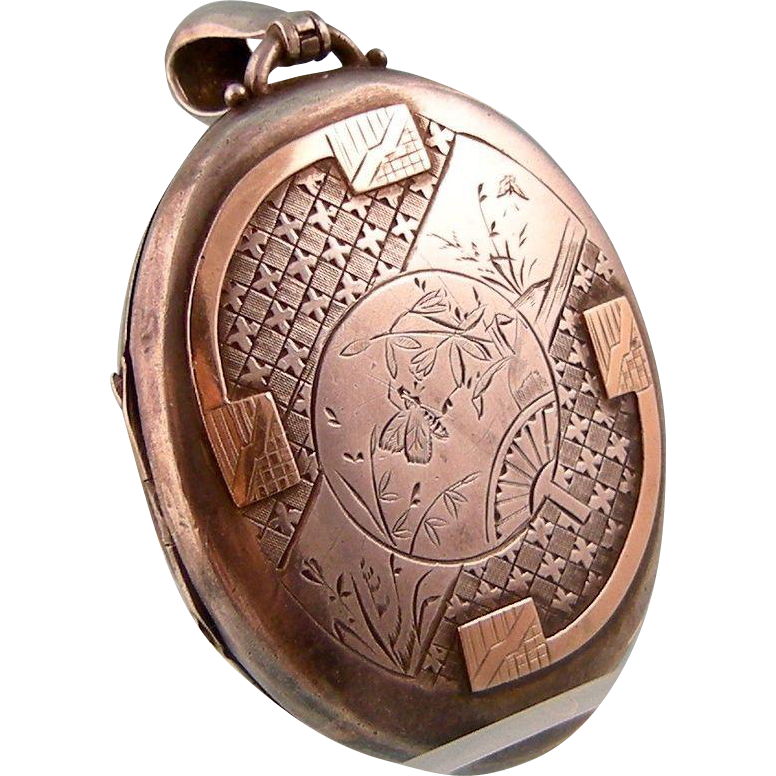 Antique Victorian Large Locket, Aesthetic Movement, Silver with Gold, Japonaiserie