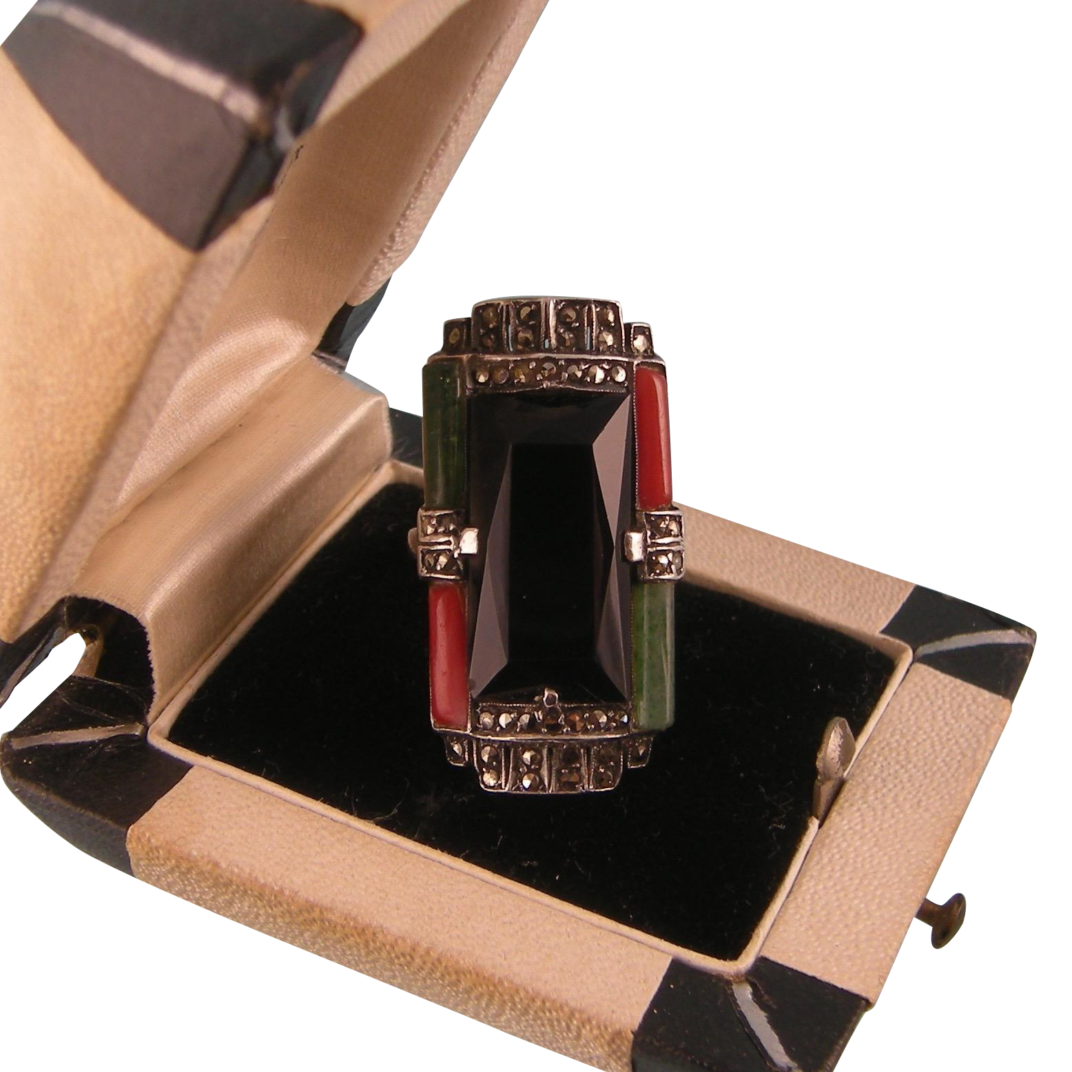 Art Deco Tall Onyx Ring with Coral, Green Tourmalines, and Marcasites, in Sterling Silver, Theodor Fahrner