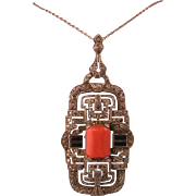 Art Deco Ornate Pendant Necklace with Coral, Onyx, and Marcasites in Sterling Silver
