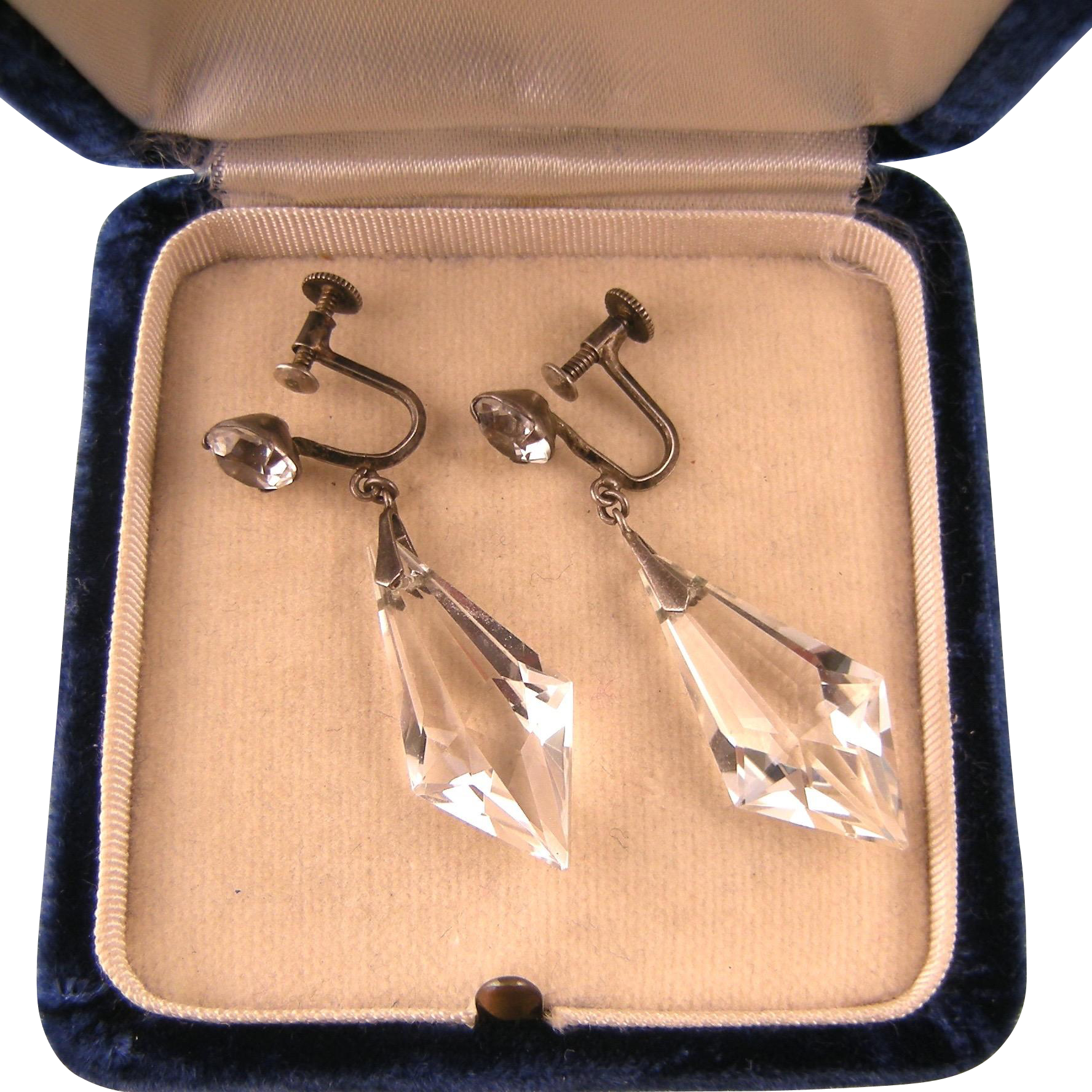 Rock Crystal Drop Earrings, Sterling Silver, Paste Ear Screw, Japan c.1950