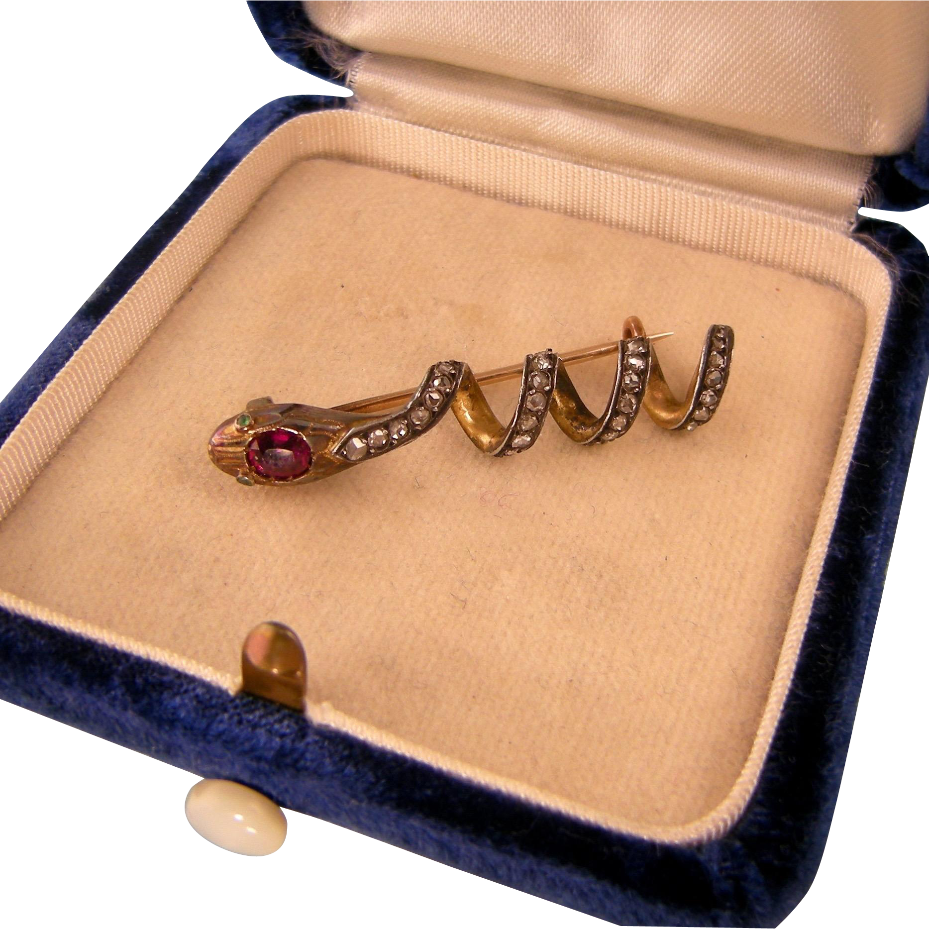 Antique Victorian 14K Gold Snake Pin Brooch with Diamonds, Ruby, and Emeralds