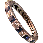 Art Deco Bangle Bracelet, Faux Sapphires and Diamonds, Sterling Silver, Huge Size