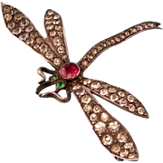 Antique Edwardian Dragonfly with Pastes in Sterling Silver