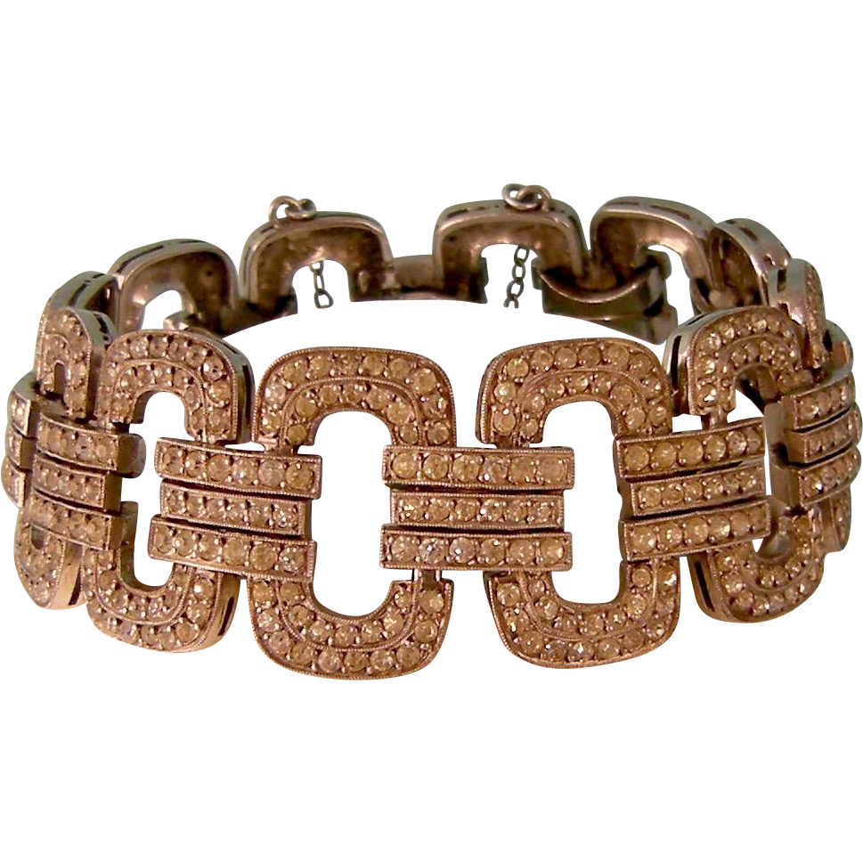 Art Deco Clear Paste and Sterling Silver Bracelet, France
