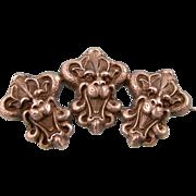 Antique Victorian Brooch, Three Gargoyles, Sterling Silver