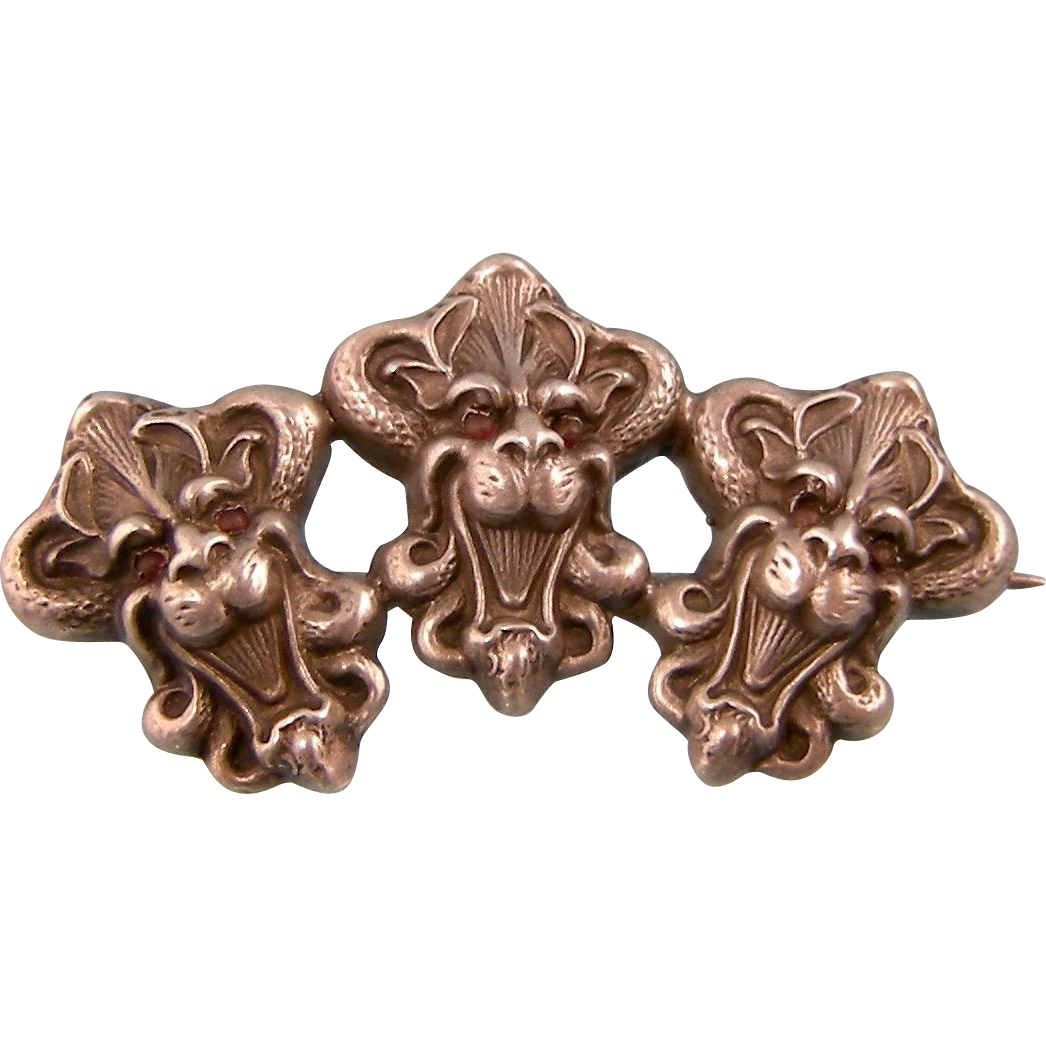 Antique Victorian Brooch, Three Gargoyles, Sterling Silver