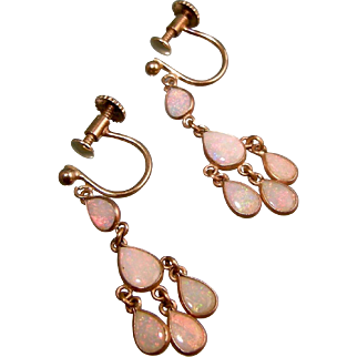 Petite Antique Edwardian Opal Chandelier Earrings, 9ct Gold