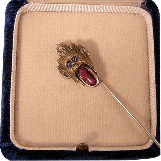 Antique Art Nouveau Gargoyle Stickpin with Ruby Glass Mouth
