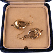 Antique Victorian Gold Filled Drop Earrings, Lovely Shape