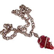 Art Deco Snake-on-a-Snake Necklace, Carnelian Glass, Chunky Sterling Silver Chain, Czechoslovakia